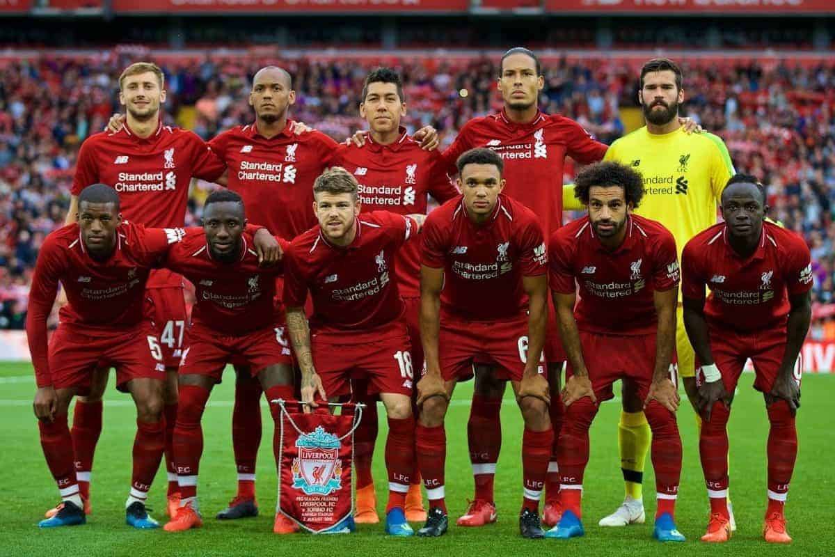 LIVERPOOL, ENGLAND - Tuesday, August 7, 2018: Liverpool's players line-up for a team group photograph before the preseason friendly match between Liverpool FC and Torino FC at Anfield. Back row L-R: Nathaniel Phillips, Fabio Henrique Tavares 'Fabinho', Roberto Firmino, Virgil van Dijk, new signing goalkeeper Alisson Becker. Front row L-R: Georginio Wijnaldum, Naby Keita, Alberto Moreno, Trent Alexander-Arnold, Mohamed Salah, Sadio Mane. (Pic by David Rawcliffe/Propaganda)