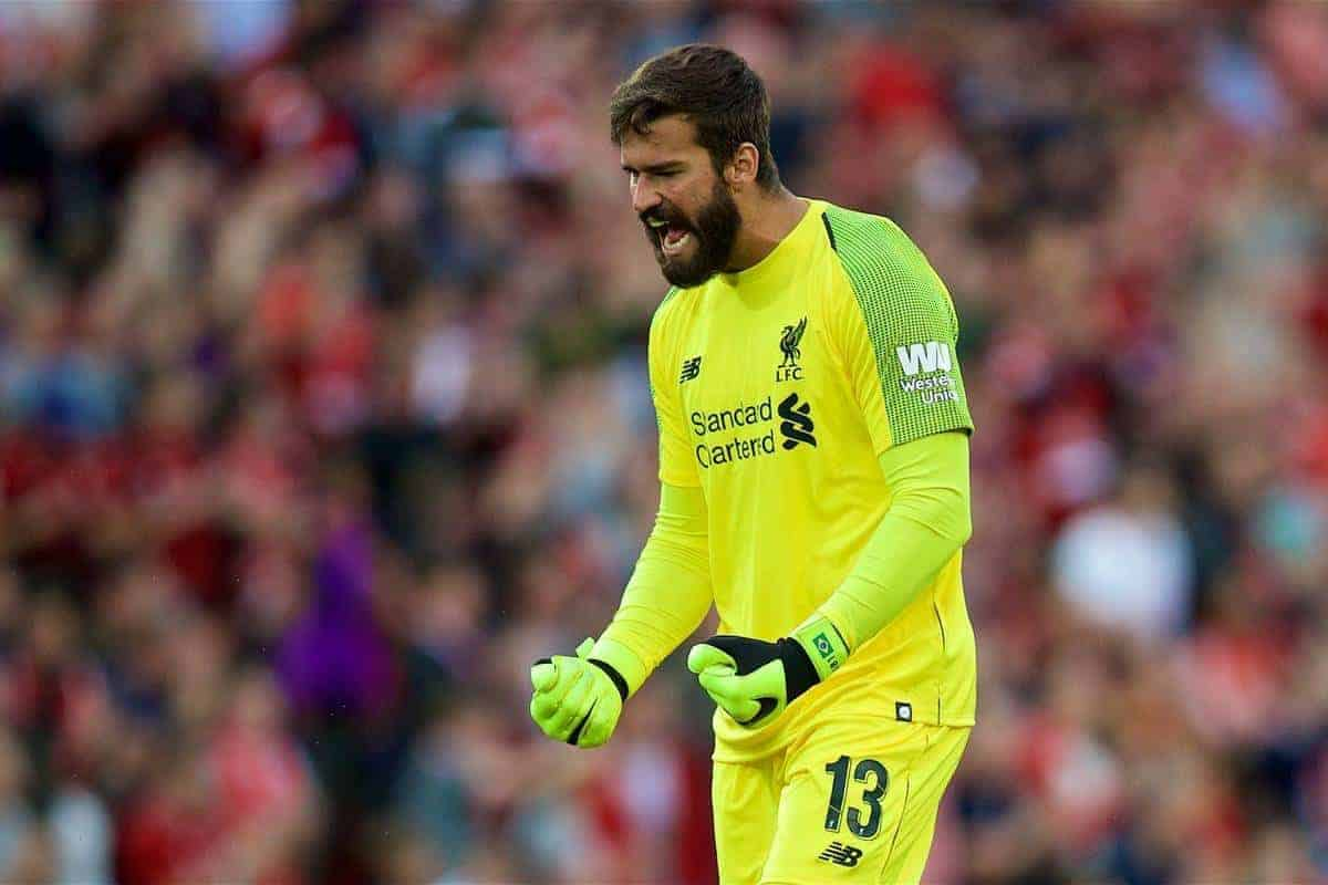LIVERPOOL, ENGLAND - Tuesday, August 7, 2018: Liverpool's new signing goalkeeper Alisson Becker celebrates the first goal during the preseason friendly match between Liverpool FC and Torino FC at Anfield. (Pic by David Rawcliffe/Propaganda)