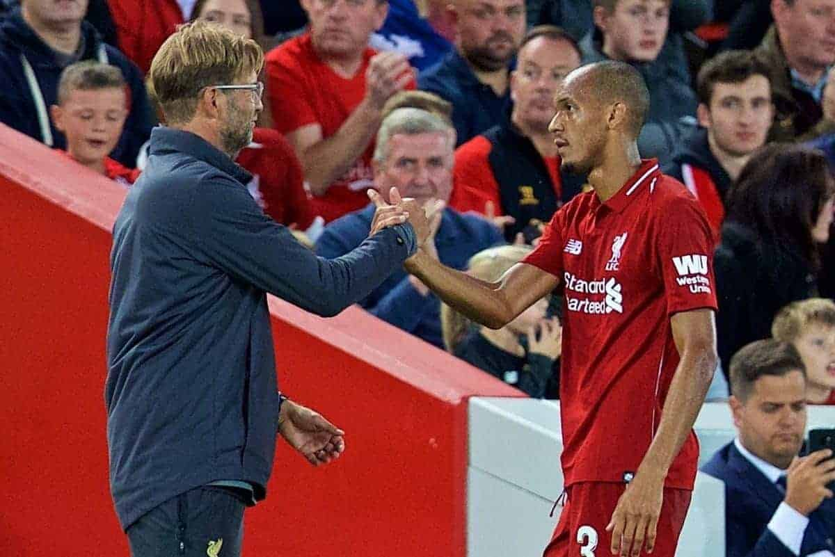 Liverpool's Fabio Henrique Tavares 'Fabinho' and manager J¸rgen Klopp during the preseason friendly match between Liverpool FC and Torino FC at Anfield. (Pic by David Rawcliffe/Propaganda)