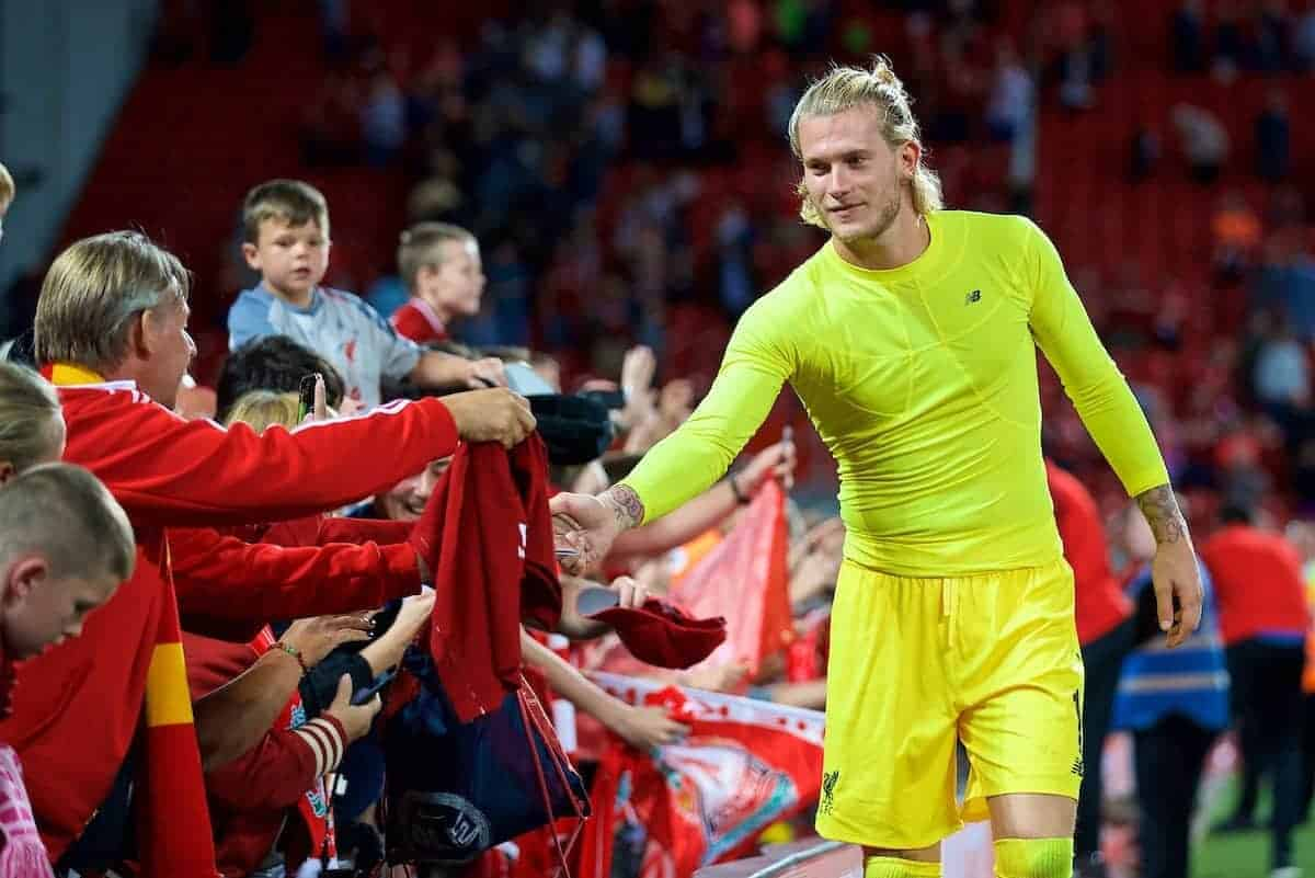 LIVERPOOL, ENGLAND - Tuesday, August 7, 2018: Liverpool's goalkeeper Loris Karius shakes hands with supporters after the preseason friendly match between Liverpool FC and Torino FC at Anfield. (Pic by David Rawcliffe/Propaganda)