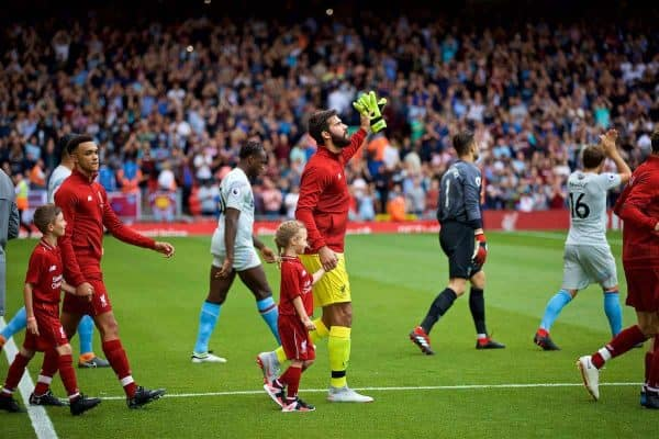LIVERPOOL, ENGLAND - Sunday, August 12, 2018: Liverpool's new signing goalkeeper Alisson Becker walks out before the FA Premier League match between Liverpool FC and West Ham United FC at Anfield. (Pic by David Rawcliffe/Propaganda)