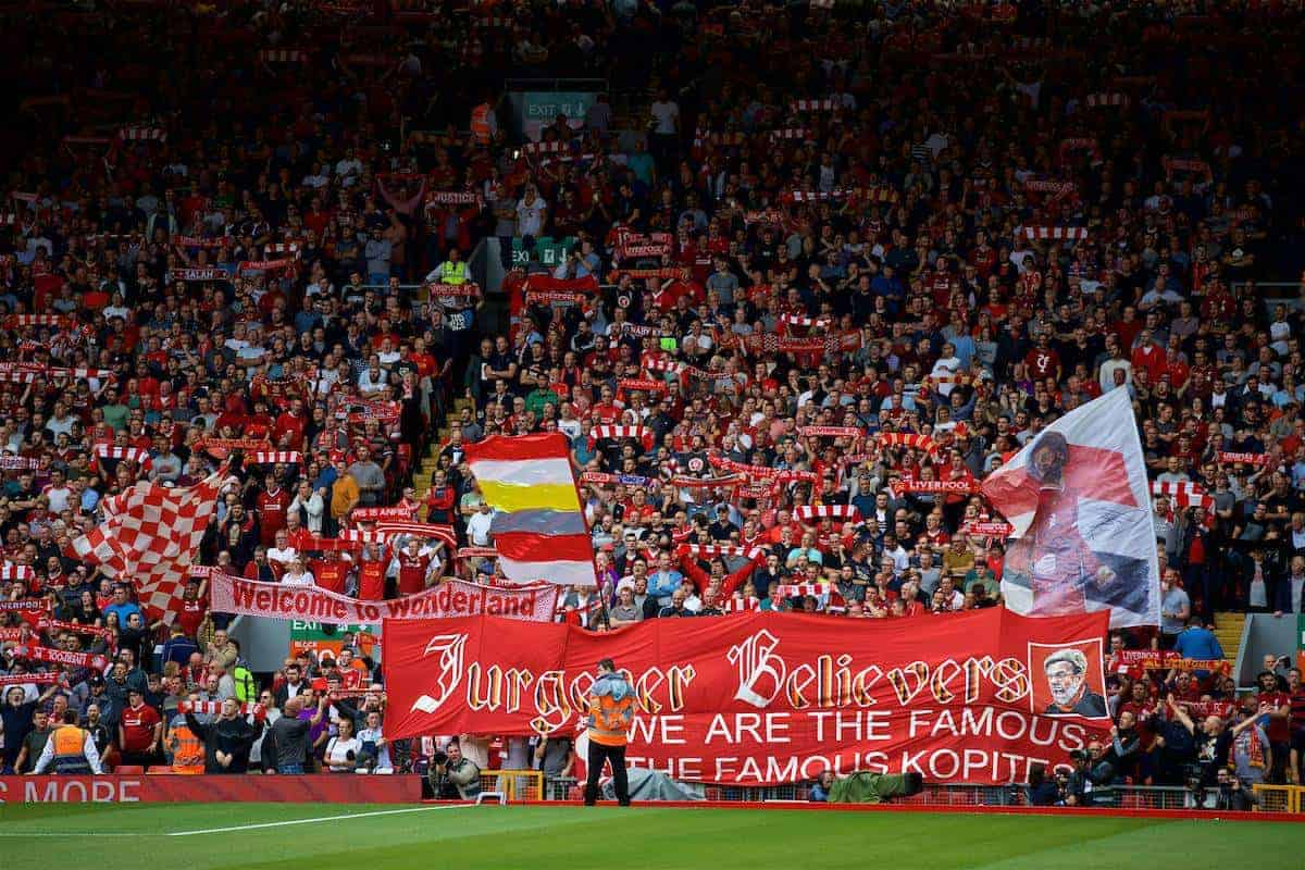 """LIVERPOOL, ENGLAND - Sunday, August 12, 2018: A Liverpool supporter's banner """"Jurgoner Believers"""" during the FA Premier League match between Liverpool FC and West Ham United FC at Anfield. (Pic by David Rawcliffe/Propaganda)"""