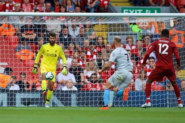 LIVERPOOL, ENGLAND - Sunday, August 12, 2018: Liverpool's goalkeeper Alisson Becker during the FA Premier League match between Liverpool FC and West Ham United FC at Anfield. (Pic by David Rawcliffe/Propaganda)