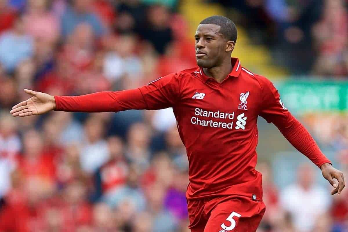 LIVERPOOL, ENGLAND - Sunday, August 12, 2018: Liverpool's Georginio Wijnaldum during the FA Premier League match between Liverpool FC and West Ham United FC at Anfield. (Pic by David Rawcliffe/Propaganda)