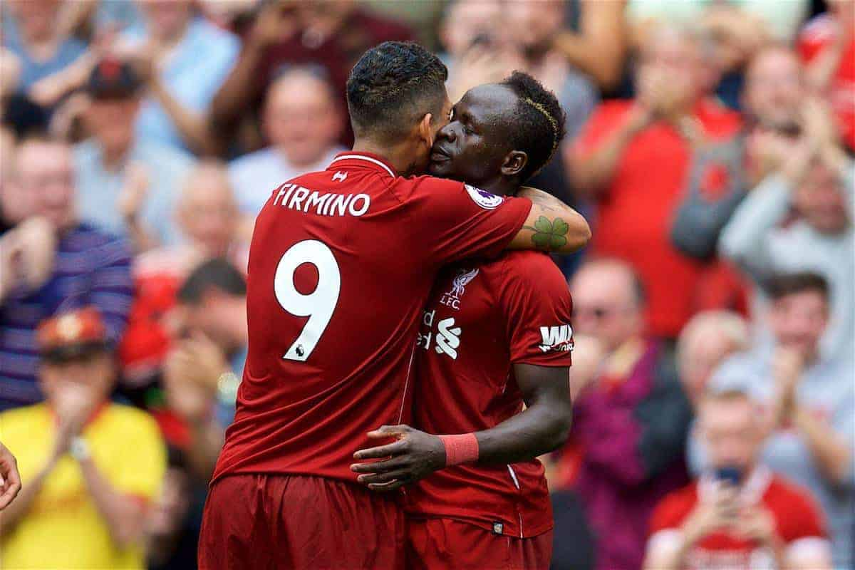 LIVERPOOL, ENGLAND - Sunday, August 12, 2018: Liverpool's Sadio Mane [#10] celebrates scoring the second goal with team-mate Roberto Firmino during the FA Premier League match between Liverpool FC and West Ham United FC at Anfield. (Pic by David Rawcliffe/Propaganda)