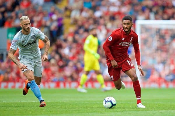 LIVERPOOL, ENGLAND - Sunday, August 12, 2018: Liverpool's Joe Gomez during the FA Premier League match between Liverpool FC and West Ham United FC at Anfield. (Pic by David Rawcliffe/Propaganda)
