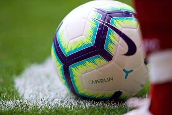 LIVERPOOL, ENGLAND - Sunday, August 12, 2018: The Nike Merlin official match-ball during the FA Premier League match between Liverpool FC and West Ham United FC at Anfield. (Pic by David Rawcliffe/Propaganda)