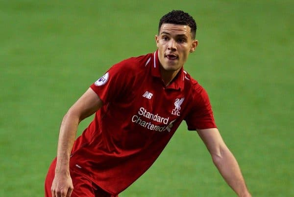 LIVERPOOL, ENGLAND - Friday, August 17, 2018: Liverpool's Isaac Christie-Davies during the Under-23 FA Premier League 2 Division 1 match between Liverpool FC and Tottenham Hotspur FC at Anfield. (Pic by David Rawcliffe/Propaganda)