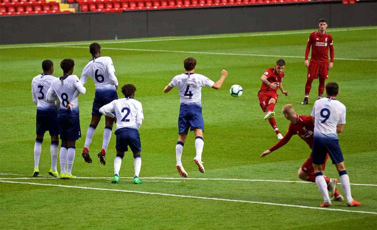 LIVERPOOL, ENGLAND - Friday, August 17, 2018: Liverpool's Adam Lewis takes a free-kick during the Under-23 FA Premier League 2 Division 1 match between Liverpool FC and Tottenham Hotspur FC at Anfield. (Pic by David Rawcliffe/Propaganda)