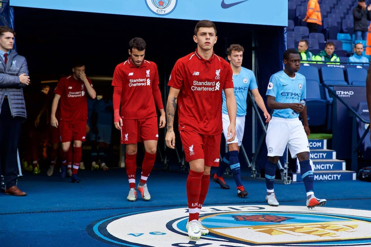 MANCHESTER, ENGLAND - Friday, August 24, 2018: Liverpool's Adam Lewis walks out before the Under-23 FA Premier League 2 Division 1 match between Manchester City FC and Liverpool FC at the City of Manchester Stadium. (Pic by David Rawcliffe/Propaganda)