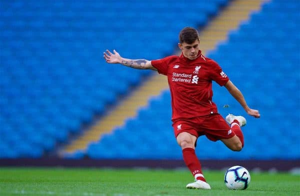 MANCHESTER, ENGLAND - Friday, August 24, 2018: Liverpool's Adam Lewis during the Under-23 FA Premier League 2 Division 1 match between Manchester City FC and Liverpool FC at the City of Manchester Stadium. (Pic by David Rawcliffe/Propaganda)
