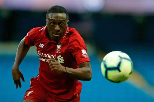 MANCHESTER, ENGLAND - Friday, August 24, 2018: Liverpool's Bobby Adekanye during the Under-23 FA Premier League 2 Division 1 match between Manchester City FC and Liverpool FC at the City of Manchester Stadium. (Pic by David Rawcliffe/Propaganda)