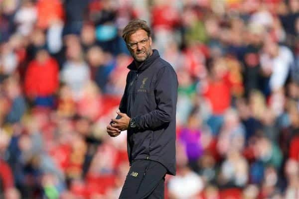 LIVERPOOL, ENGLAND - Saturday, August 25, 2018: Liverpool's manager J¸rgen Klopp during the pre-match warm-up before the FA Premier League match between Liverpool FC and Brighton & Hove Albion FC at Anfield. (Pic by David Rawcliffe/Propaganda)