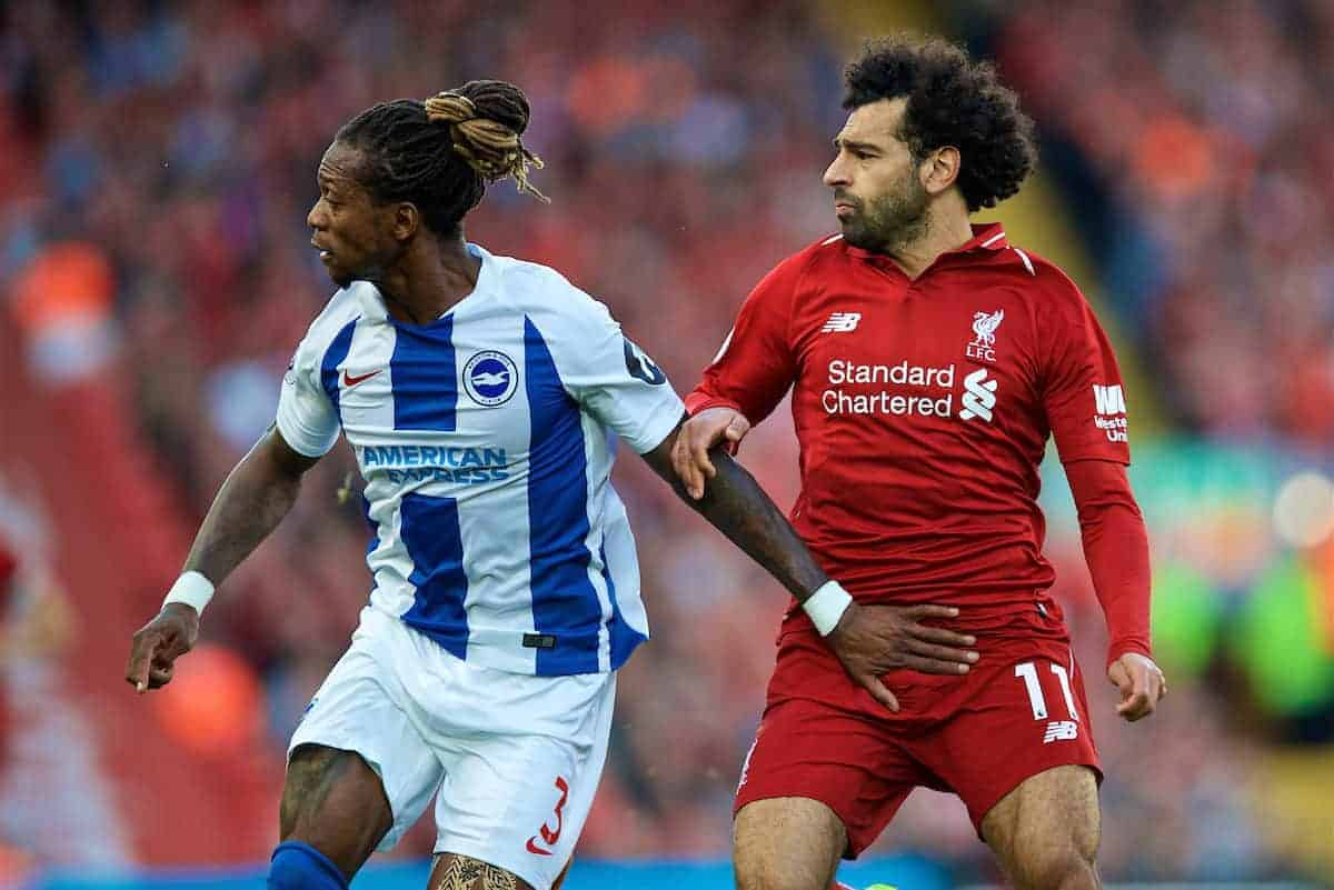 LIVERPOOL, ENGLAND - Saturday, August 25, 2018: Liverpool's Mohamed Salah (right) and Brighton & Hove Albion's Gaëtan Bong during the FA Premier League match between Liverpool FC and Brighton & Hove Albion FC at Anfield. (Pic by David Rawcliffe/Propaganda)