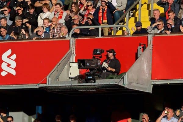 LIVERPOOL, ENGLAND - Saturday, August 25, 2018: A television camera operator working from a suspended gantry during the FA Premier League match between Liverpool FC and Brighton & Hove Albion FC at Anfield. (Pic by David Rawcliffe/Propaganda)
