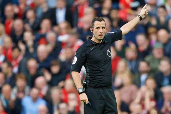 LIVERPOOL, ENGLAND - Saturday, August 25, 2018: Referee Chris Kavanagh during the FA Premier League match between Liverpool FC and Brighton & Hove Albion FC at Anfield. (Pic by David Rawcliffe/Propaganda)