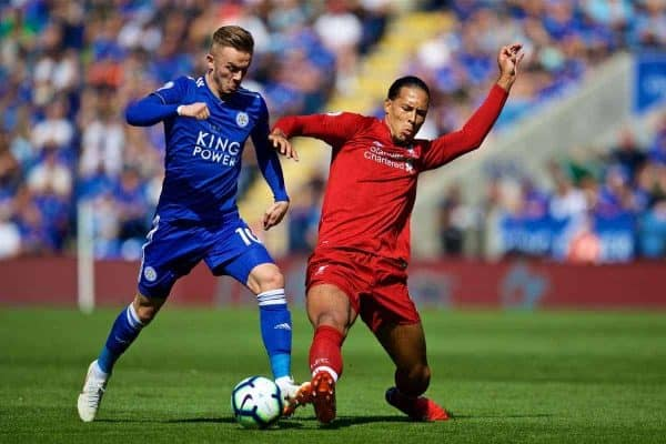 LEICESTER, ENGLAND - Saturday, September 1, 2018: Leicester City's James Maddison (left) and Liverpool's Virgil van Dijk during the FA Premier League match between Leicester City and Liverpool at the King Power Stadium. (Pic by David Rawcliffe/Propaganda)
