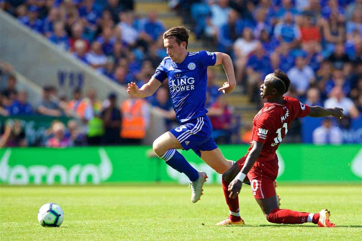 LEICESTER, ENGLAND - Saturday, September 1, 2018: Leicester City's Ben Chilwell and Liverpool's Sadio Mane during the FA Premier League match between Leicester City and Liverpool at the King Power Stadium. (Pic by David Rawcliffe/Propaganda)