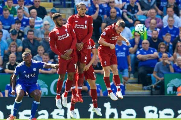 LEICESTER, ENGLAND - Saturday, September 1, 2018: Liverpool's Joe Gomez, Virgil van Dijk and James Milner defend a free-kick during the FA Premier League match between Leicester City and Liverpool at the King Power Stadium. (Pic by David Rawcliffe/Propaganda)