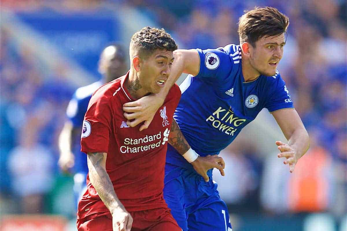 LEICESTER, ENGLAND - Saturday, September 1, 2018: Liverpool's Roberto Firmino and Leicester City's Harry Maguire during the FA Premier League match between Leicester City and Liverpool at the King Power Stadium. (Pic by David Rawcliffe/Propaganda)