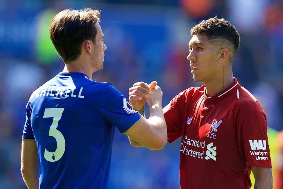 LEICESTER, ENGLAND - Saturday, September 1, 2018: Liverpool's Roberto Firmino and Leicester City's Ben Chilwell after the FA Premier League match between Leicester City and Liverpool at the King Power Stadium. (Pic by David Rawcliffe/Propaganda)