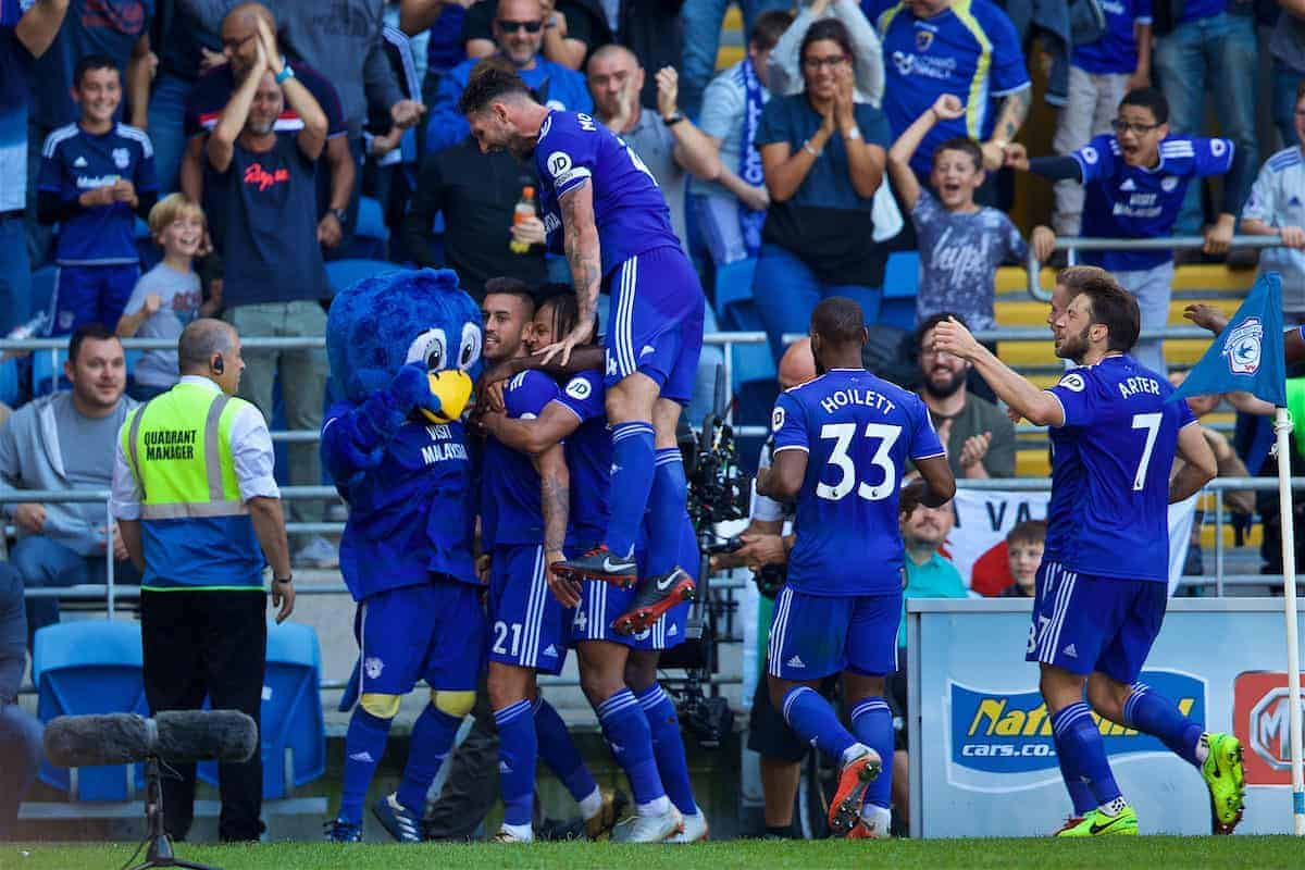 CARDIFF, WALES - Sunday, September 2, 2018: Cardiff City's Víctor Camarasa celebrates scoring the first goal during the FA Premier League match between Cardiff City FC and Arsenal FC at the Cardiff City Stadium. (Pic by David Rawcliffe/Propaganda)