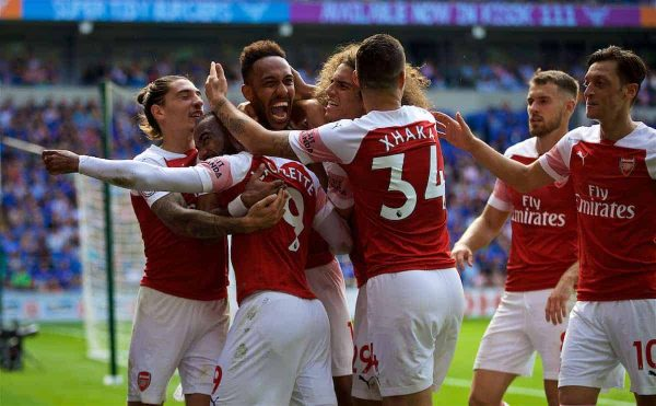 CARDIFF, WALES - Sunday, September 2, 2018: Arsenal's Pierre-Emerick Aubameyang celebrates scoring the second goal with team-mates during the FA Premier League match between Cardiff City FC and Arsenal FC at the Cardiff City Stadium. (Pic by David Rawcliffe/Propaganda)