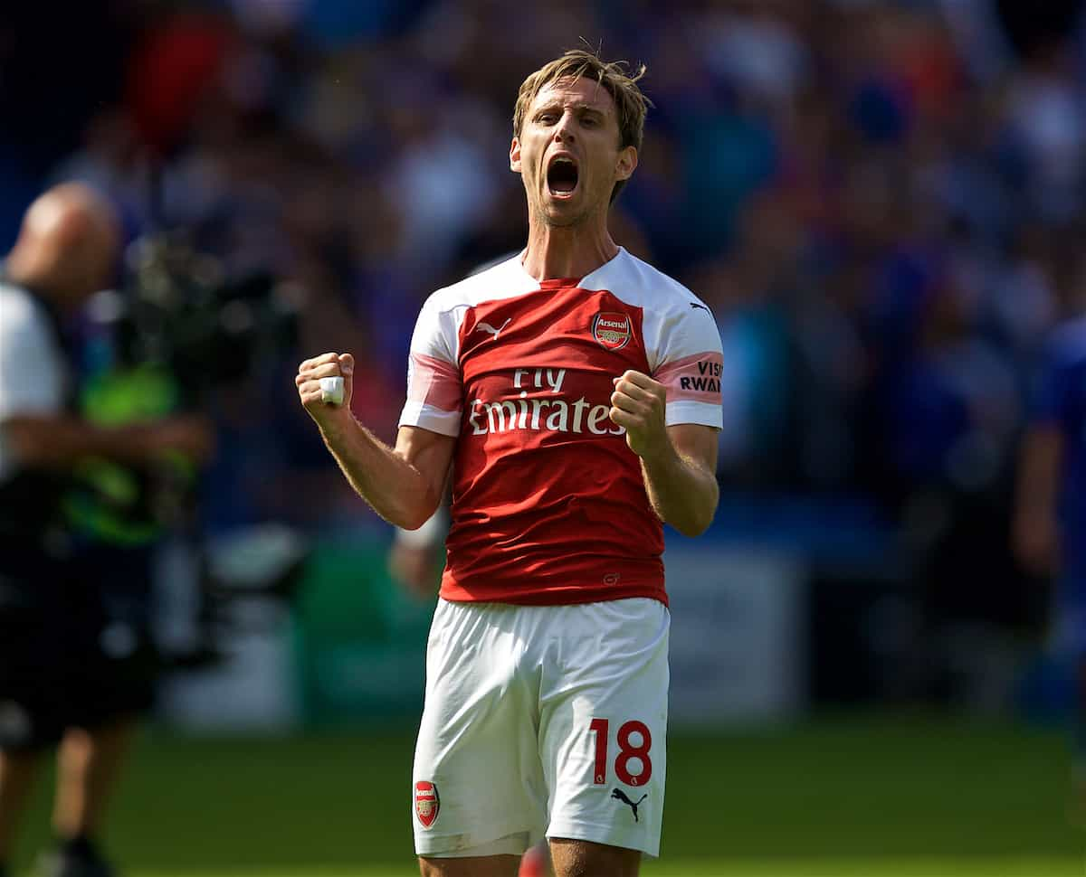 CARDIFF, WALES - Sunday, September 2, 2018: Arsenal's Nacho Monreal celebrates after a 3-2 victory during the FA Premier League match between Cardiff City FC and Arsenal FC at the Cardiff City Stadium. (Pic by David Rawcliffe/Propaganda)