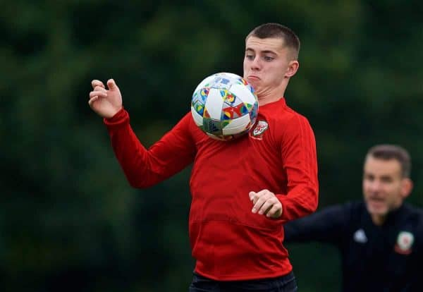 CARDIFF, WALES - Monday, September 3, 2018: Wales' Ben Woodburn during a training session at the Vale Resort ahead of the UEFA Nations League Group Stage League B Group 4 match between Wales and Republic of Ireland. (Pic by David Rawcliffe/Propaganda)