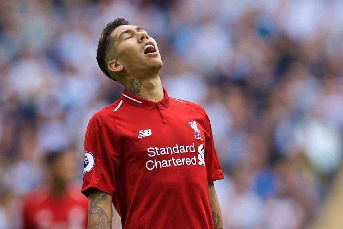 LONDON, ENGLAND - Saturday, September 15, 2018: Liverpool's Roberto Firmino looks dejected after missing a chance during the FA Premier League match between Tottenham Hotspur FC and Liverpool FC at Wembley Stadium. (Pic by David Rawcliffe/Propaganda)