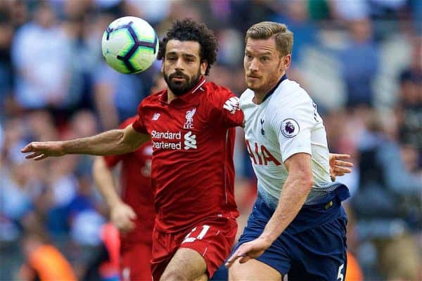 LONDON, ENGLAND - Saturday, September 15, 2018: Liverpool's Mohamed Salah (left) and Tottenham Hotspur's Jan Vertonghen during the FA Premier League match between Tottenham Hotspur FC and Liverpool FC at Wembley Stadium. (Pic by David Rawcliffe/Propaganda)