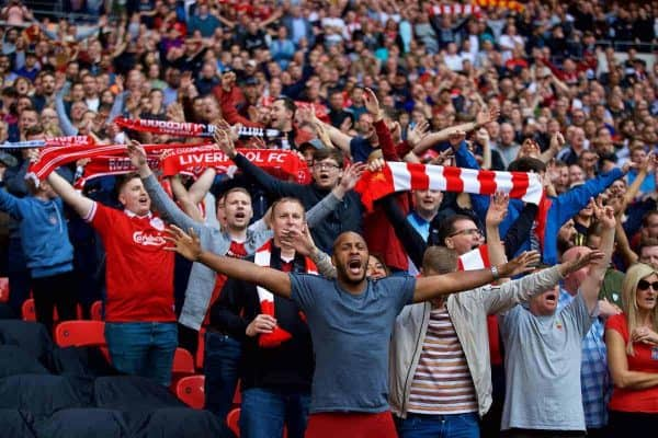 LONDON, ENGLAND - Saturday, September 15, 2018: Liverpool supporters celebrate the victory after the FA Premier League match between Tottenham Hotspur FC and Liverpool FC at Wembley Stadium. Liverpool won 2-1. (Pic by David Rawcliffe/Propaganda)