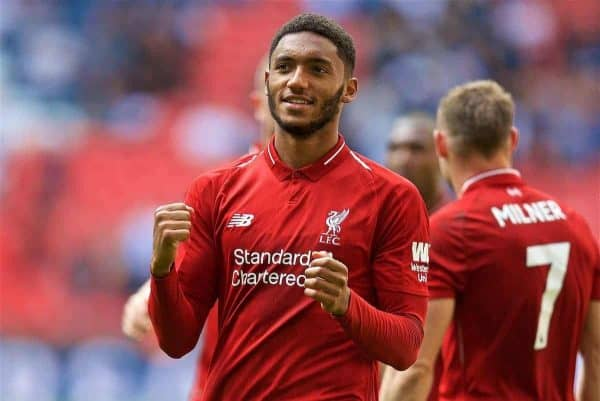 LONDON, ENGLAND - Saturday, September 15, 2018: Liverpool's Joe Gomez celebrates after the FA Premier League match between Tottenham Hotspur FC and Liverpool FC at Wembley Stadium. Liverpool won 2-1. (Pic by David Rawcliffe/Propaganda)