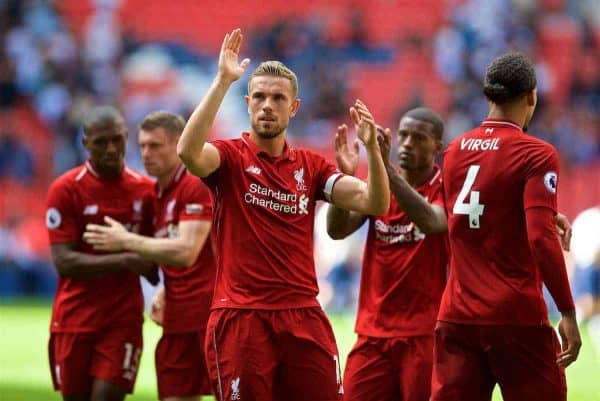 LONDON, ENGLAND - Saturday, September 15, 2018: Liverpool's captain Jordan Henderson celebrates after the FA Premier League match between Tottenham Hotspur FC and Liverpool FC at Wembley Stadium. Liverpool won 2-1. (Pic by David Rawcliffe/Propaganda)