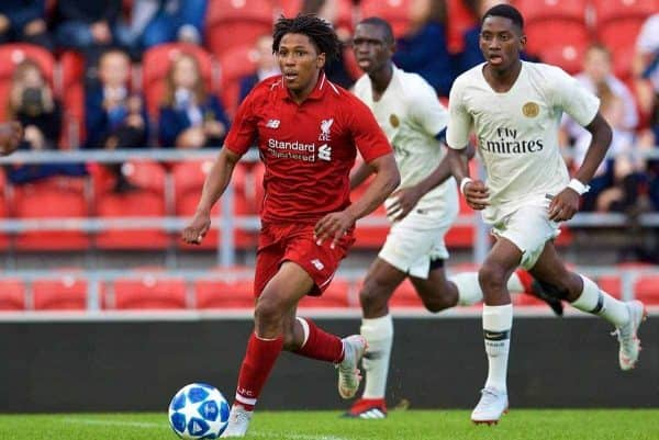 LIVERPOOL, ENGLAND - Tuesday, September 18, 2018: Liverpool's substitute Yasser Larouci during the UEFA Youth League Group C match between Liverpool FC and Paris Saint-Germain at Langtree Park. (Pic by David Rawcliffe/Propaganda)