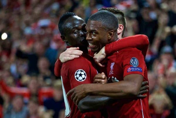 LIVERPOOL, ENGLAND - Tuesday, September 18, 2018: Liverpool's Daniel Sturridge celebrates scoring the first goal with team-mate Sadio Mane (L) during the UEFA Champions League Group C match between Liverpool FC and Paris Saint-Germain at Anfield. (Pic by David Rawcliffe/Propaganda)
