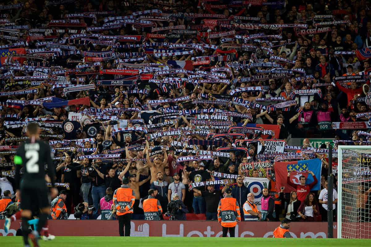 LIVERPOOL, ENGLAND - Tuesday, September 18, 2018: Paris Saint-Germain supporters during the UEFA Champions League Group C match between Liverpool FC and Paris Saint-Germain at Anfield. (Pic by David Rawcliffe/Propaganda)