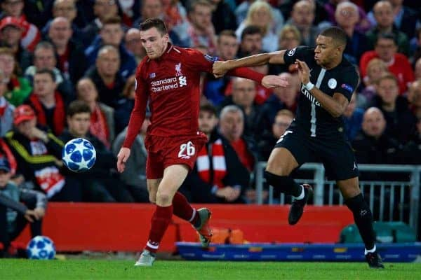 LIVERPOOL, ENGLAND - Tuesday, September 18, 2018: Liverpool's Andy Robertson (L) and Paris Saint-Germain's Kylian MbappÈ (R) during the UEFA Champions League Group C match between Liverpool FC and Paris Saint-Germain at Anfield. (Pic by David Rawcliffe/Propaganda)