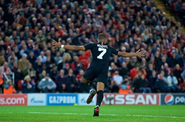 LIVERPOOL, ENGLAND - Tuesday, September 18, 2018: Paris Saint-Germain's Kylian Mbappé celebrates scoring the second goal to equalise the score at 2-2 during the UEFA Champions League Group C match between Liverpool FC and Paris Saint-Germain at Anfield. (Pic by David Rawcliffe/Propaganda)