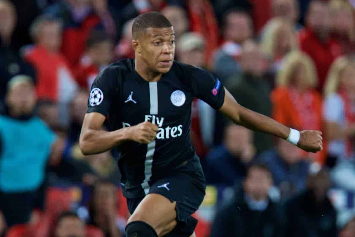 LIVERPOOL, ENGLAND - Tuesday, September 18, 2018: Paris Saint-Germain's Kylian Mbappé during the UEFA Champions League Group C match between Liverpool FC and Paris Saint-Germain at Anfield. (Pic by David Rawcliffe/Propaganda)