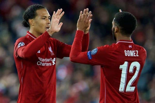 LIVERPOOL, ENGLAND - Tuesday, September 18, 2018: Liverpool's Virgil van Dijk and Joe Gomez after the UEFA Champions League Group C match between Liverpool FC and Paris Saint-Germain at Anfield. (Pic by David Rawcliffe/Propaganda)