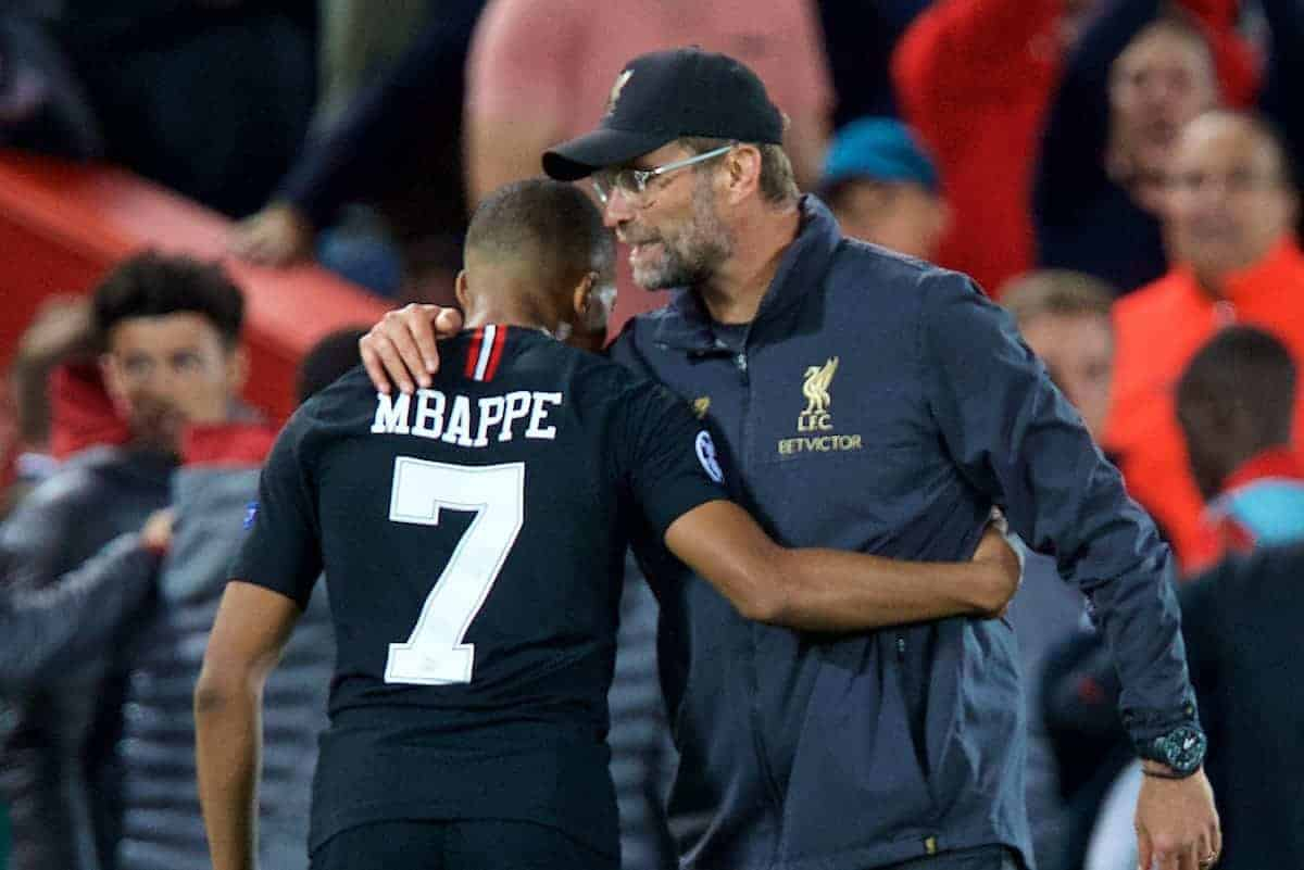 LIVERPOOL, ENGLAND - Tuesday, September 18, 2018: Liverpool's manager Jürgen Klopp and Paris Saint-Germain's Kylian Mbappé after during the UEFA Champions League Group C match between Liverpool FC and Paris Saint-Germain at Anfield. (Pic by David Rawcliffe/Propaganda)