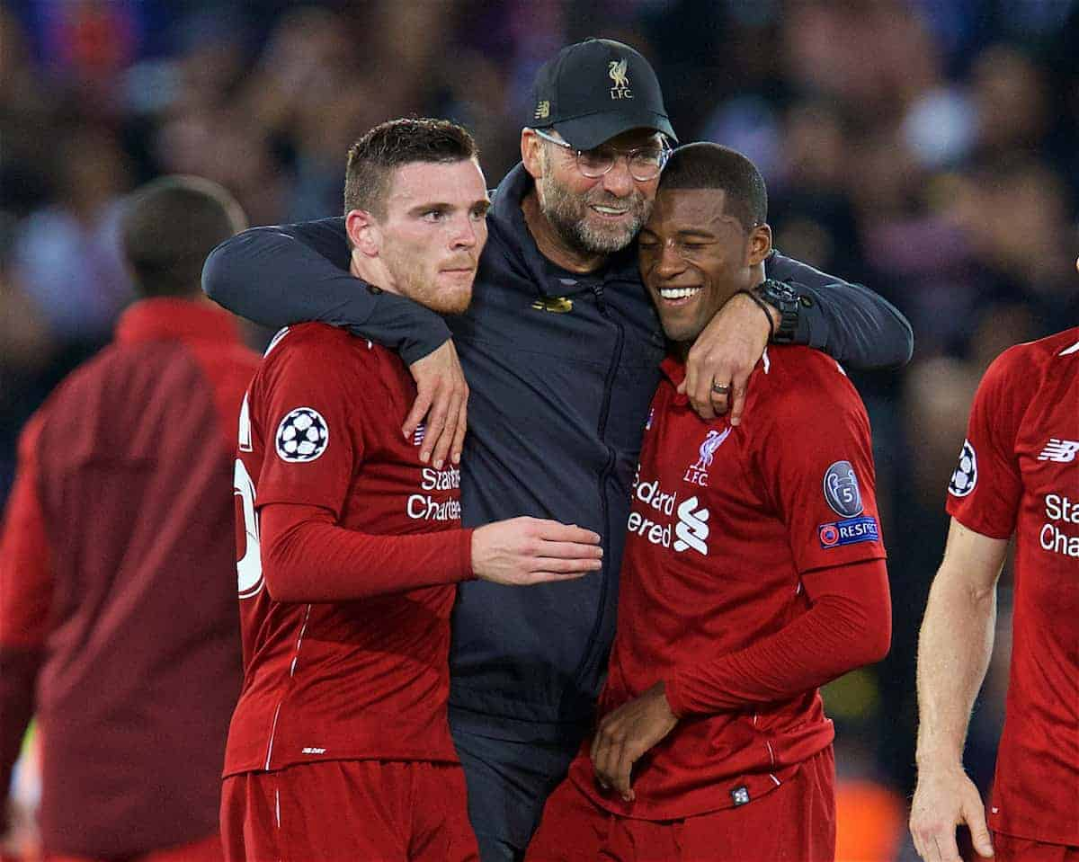 LIVERPOOL, ENGLAND - Tuesday, September 18, 2018: Liverpool's manager Jürgen Klopp (C) celebrates with Andy Robertson (L) and Georginio Wijnaldum (R) after the UEFA Champions League Group C match between Liverpool FC and Paris Saint-Germain at Anfield. Liverpool won 3-2. (Pic by David Rawcliffe/Propaganda)