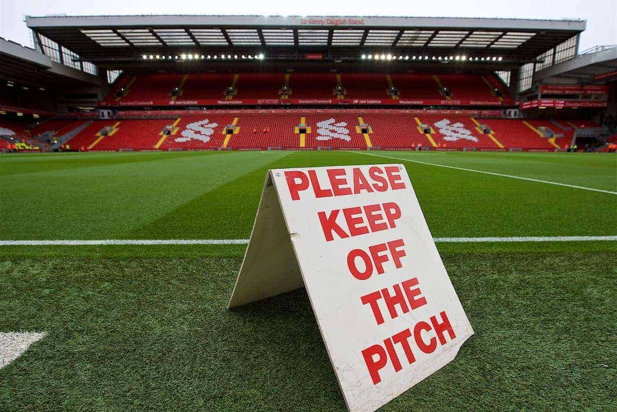 LIVERPOOL, ENGLAND - Saturday, September 22, 2018: A keep of the pitch sign at Anfield before the FA Premier League match between Liverpool FC and Southampton FC. (Pic by Jon Super/Propaganda)