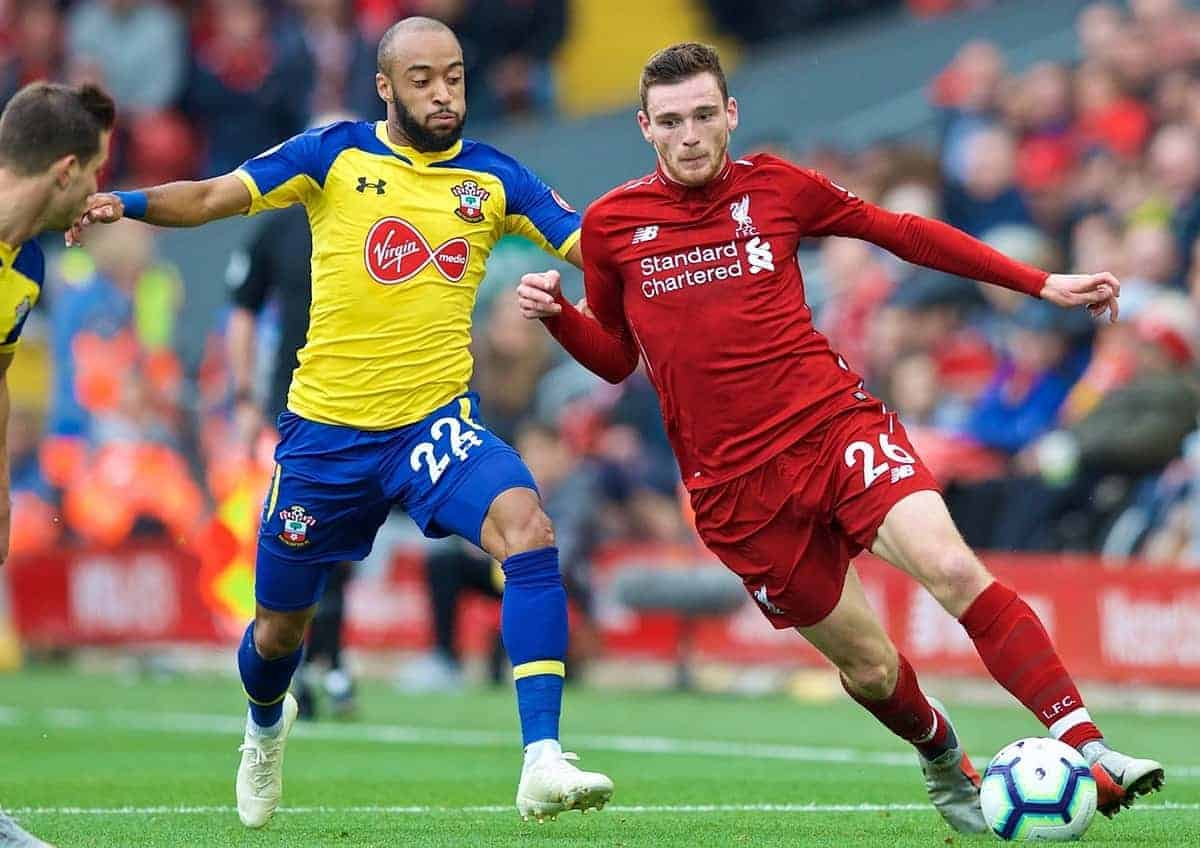 LIVERPOOL, ENGLAND - Saturday, September 22, 2018: Liverpool's Andy Robertson (right) and Southampton's Nathan Redmond (centre) during the FA Premier League match between Liverpool FC and Southampton FC at Anfield. (Pic by Jon Super/Propaganda)