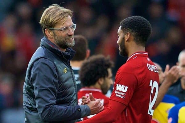 LIVERPOOL, ENGLAND - Saturday, September 22, 2018: Liverpool's manager Jürgen Klopp and Joe Gomez after the FA Premier League match between Liverpool FC and Southampton FC at Anfield. Liverpool won 3-0. (Pic by Jon Super/Propaganda)