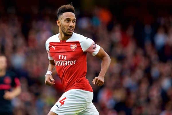 London, ENGLAND - Sunday, September 23, 2018: Arsenal's Pierre-Emerick Aubameyang during the FA Premier League match between Arsenal FC and Everton FC at the Emirates Stadium. (Pic by David Rawcliffe/Propaganda)