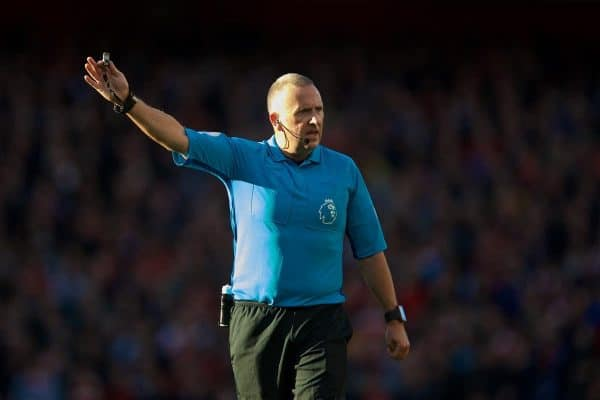 London, ENGLAND - Sunday, September 23, 2018: Referee Jonathan Moss during the FA Premier League match between Arsenal FC and Everton FC at the Emirates Stadium. (Pic by David Rawcliffe/Propaganda)