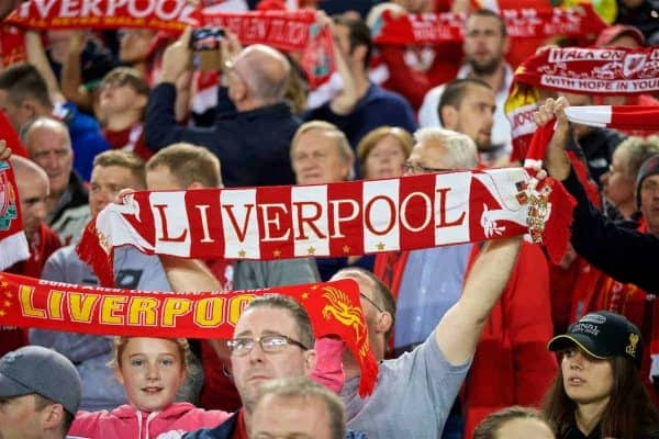 """Liverpool supporters sing """"You'll Never Walk Alone"""" before the Football League Cup 3rd Round match between Liverpool FC and Chelsea FC at Anfield. (Pic by David Rawcliffe/Propaganda)"""