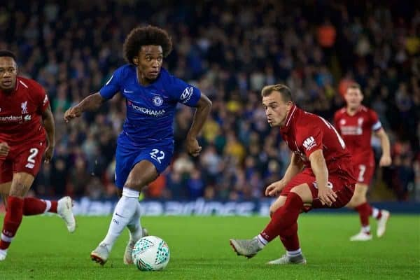 LIVERPOOL, ENGLAND - Wednesday, September 26, 2018: Chelsea's Willian Borges da Silva (centre) and Liverpool's Nathaniel Clyne (left) and Xherdan Shaqiri (right) during the Football League Cup 3rd Round match between Liverpool FC and Chelsea FC at Anfield. (Pic by David Rawcliffe/Propaganda)